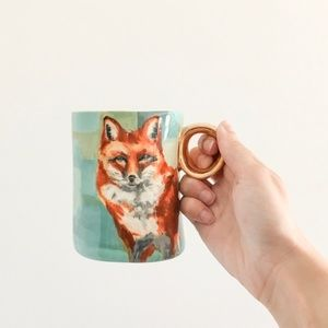 Anthropologie x Lauren Carlson Winter Fox Mug